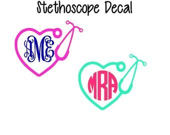 Stethoscope Monogram Decal, Monogram Nurse Decal, Doctor Monogram Decal, Nursing Student Decal