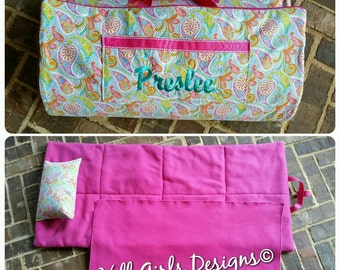 Girl's custom made monogrammed nap mat with attached blanket and removable pillow with name