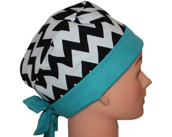 Surgical Scrub Hat Scrub Chef Doctor Vet Nurse Chemo Cap Flirty Front Fold Pixie Black White Chevron Teal  2nd Item Ships FREE