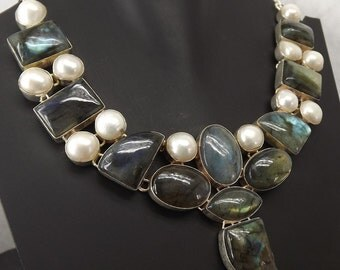 Breath Taking Labradorite, Pearl Necklace plated with 925 Sterling Silver Handmade Jewelry Silver Necklace Genuine , Big Necklace