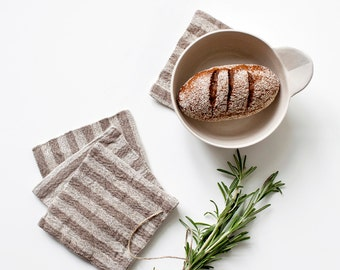 Set of 4 Rustic Coasters With Brown Stripe
