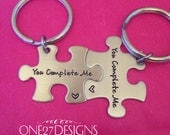 Puzzle Piece Key Chain Set You Complete Me His and Hers Couple Set Hand Stamped