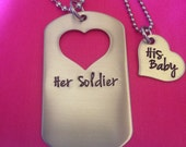 Hand Stamped Dog Tag With Heart Cut Out with Heart Customized Names His and Hers Necklace Set Soldier Military