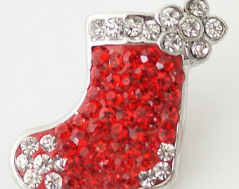 CZ Red Christmas Stocking ~ Snap It  SKB4371  Chunk Snap Button Popper Interchangeable 18mm 20mm snap