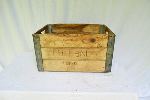 Vintage milk crate lucerne milk crate rustic by vintassentials for Where can i buy wooden milk crates