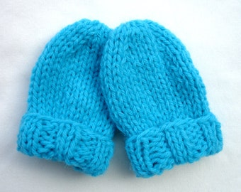 Knitted Baby Mittens - Knit Thumbless Infant Mittens - 0 to 3 Months - Medium Blue
