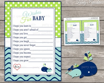 INSTANT DOWNLOAD - AHOY It's A Boy! Whale Green and Blue Baby Shower Wishes for Baby to be Cards - Digital Printable pdf file