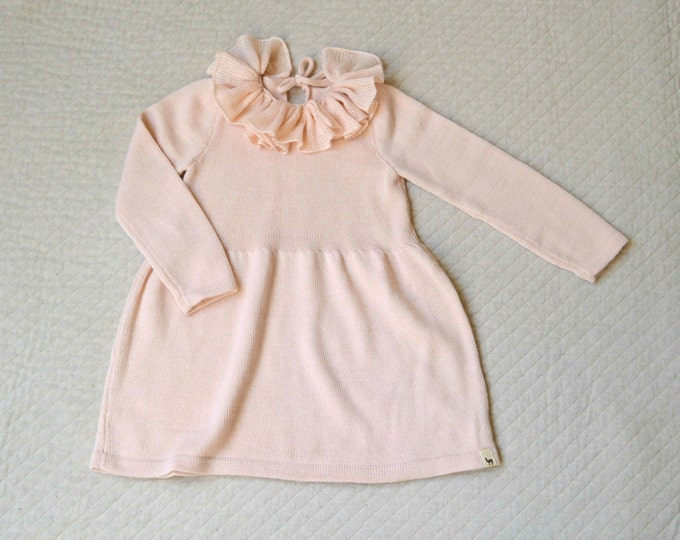 Ruffle collar dress / knitted baby alpaca dress / rose knit dress / winter dress / knitted girl dress / ruffle collar wool dress