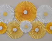 Yellow and White, Sunshine set of Eight (8) Paper Rosettes