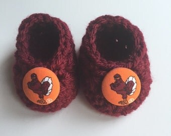 Virginia Tech baby booties, baby booties, infant shoes, crochet baby booties, booties for baby, crochet baby shoes