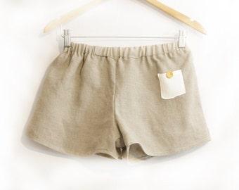 Organic French Linen Shorts ~  Women's Pants Pyjamas Pijama Ladies Sleepwear Loungewear Lingerie Pajamas natural Mothers day gift