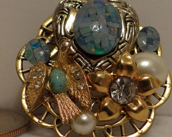 Vintage Brooch with Opal and Fire Opal
