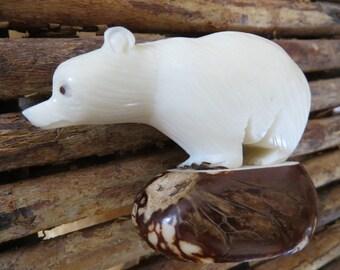 Vintage Polar Bear Carving
