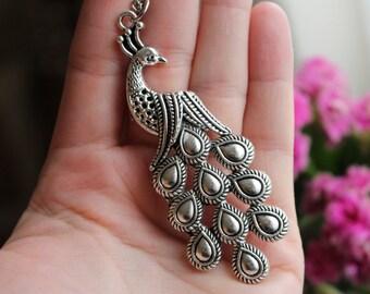 Peacock necklace, silver bird necklace, long chain necklace, silver peacock jewerly, peacock jewelry, large peacock, peacock pendant