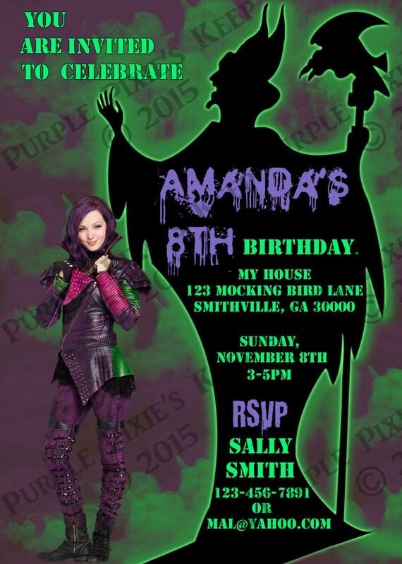 Disney Descendants Mal Birthday Party Invitation