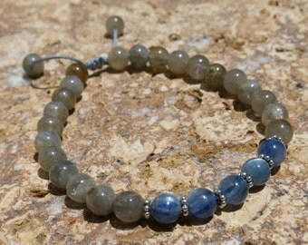 Kyanite and Labradorite 6mm 27 bead Mala with Sterling Silver - Protection, Spiritual Purpose and Attunement. Adjustable bracelet