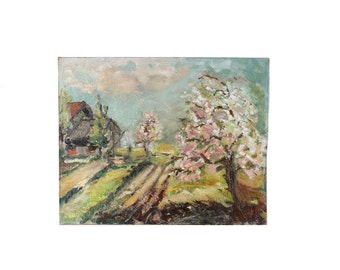 Vintage Original Oil Painting. Cherry Blossoms On The Farm