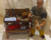 Ooak Miniature Dolls House 12th Scale Vintage Wooden Toy Maker and bench