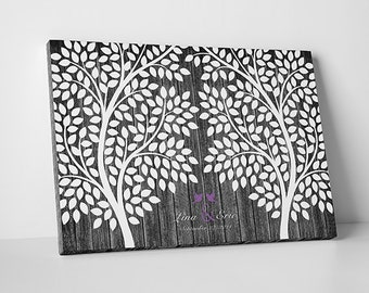 Wedding Tree Sign in // Wedding Guest Book Tree // Up to 300 Signatures Wedding Tree // Panoramic Gallery Wrapped Canvas