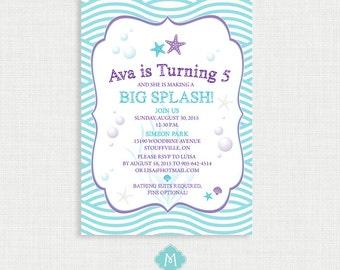 Printable Birthday Invitation- Under the Sea Birthday Invitation, Starfish Birthday Party Invitations, Coral, DIY,  Printable Template