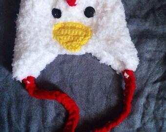 Fuzzy chicken newborn hat 0-3 months- ready to ship NOW