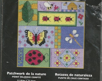 "NATURE PATCHWORK Picture Counted Cross Stitch KIT /  Lady Bugs, Butterflies, Fireflies, Flowers, Trees, Bee Hives / 4.5"" sq / Colorful Quilt"