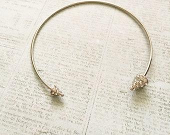 Silver Pave Spike Adjustable Cuff Bracelet