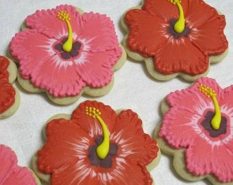Hibiscus Flowers Cookies with Flip Flop Sandals - Tropical Birthday Party, Beach Theme, Luau, Hawaii, Cookie Favors, Wedding Custom Cookies