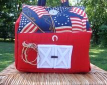 Carry Along Fabric Dollhouses- Soft Dollhouse Red Barn- Portable Dollhouse Barn- Handmade