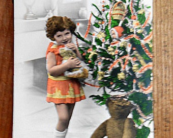 Antique French Tinted Real Photo Postcard, Christmas, Teddy Bear, Child