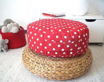 Rosso piano cuscino in tessuto Pouf-Pouf Pouf-piano cuscino-Nursery Decor-Kids Pouf-meditazione piano cuscino rotondo