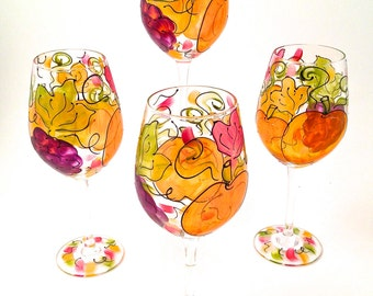Harvest Pumpkin Wine Glass Hand Painted Set of 4