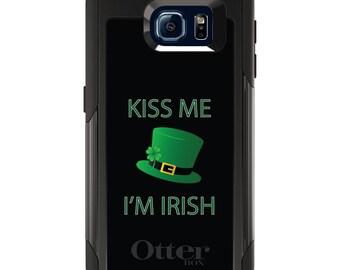 OtterBox Commuter for Galaxy S4 / S5 / S6 / S7 / S8 / S8+ / Note 4 5 8 - CUSTOM Monogram - Any Colors - Black Green Kiss Me I'm Irish