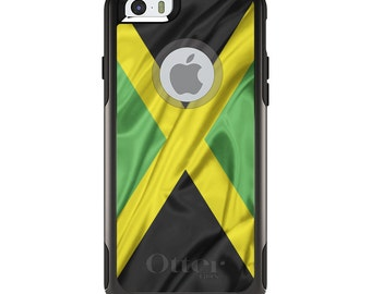 OtterBox Commuter for Apple iPhone 5S SE 5C 6 6S 7 8 PLUS X 10 - Custom Monogram - Any Colors - Jamaica Waving Flag