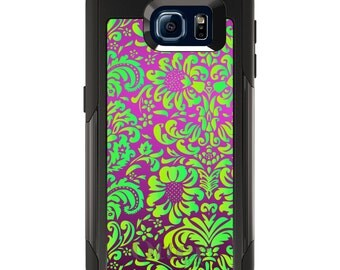 OtterBox Commuter for Galaxy S4 / S5 / S6 / S7 / S8 / S8+ / Note 4 5 8 - CUSTOM Monogram - Any Colors - Purple Green Floral Pattern