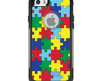 OtterBox Commuter for Apple iPhone 5S SE 5C 6 6S 7 8 PLUS X 10 - Custom Monogram - Any Colors - Primary Color Puzzle Pieces Autism