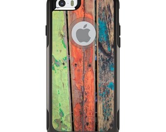 OtterBox Commuter for Apple iPhone 5S SE 5C 6 6S 7 8 PLUS X 10 - Custom Monogram - Any Colors - Rough Painted Wood