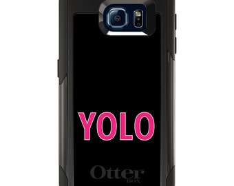 OtterBox Commuter for Galaxy S4 / S5 / S6 / S7 / S8 / S8+ / Note 4 5 8 - CUSTOM Monogram - Any Colors - Black Pink YOLO