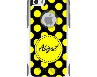 OtterBox Commuter for Apple iPhone 5S SE 5C 6 6S 7 8 PLUS X 10 - Custom Monogram or Image - Yellow Black Polka Dots Name
