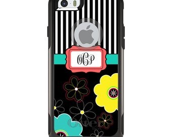 OtterBox Commuter for Apple iPhone 5S SE 5C 6 6S 7 8 PLUS X 10 - Custom Monogram or Image - Black White Yellow Flower