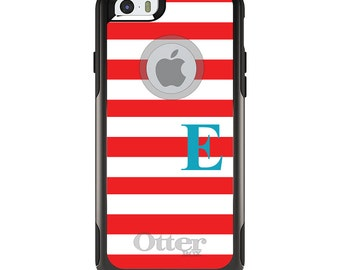 OtterBox Commuter for Apple iPhone 5S SE 5C 6 6S 7 8 PLUS X 10 - Custom Monogram or Image - Red White Bold Stripes Teal
