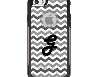 OtterBox Commuter for Apple iPhone 5S SE 5C 6 6S 7 8 PLUS X 10 - Custom Monogram or Image - Grey White Black Chevron
