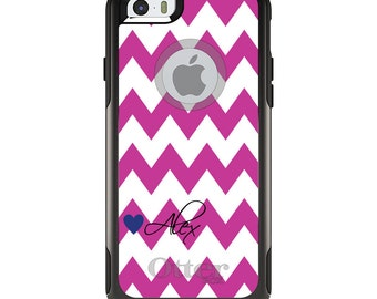 OtterBox Commuter for Apple iPhone 5S SE 5C 6 6S 7 8 PLUS X 10 - Custom Monogram or Image - Pink White Chevron Heart Name