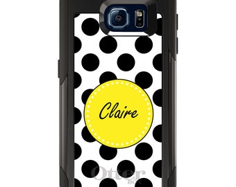OtterBox Commuter for Galaxy S4 / S5 / S6 / S7 / S8 / S8+ / Note 4 5 8 - CUSTOM Monogram Name Initials - Black Yellow White Polka Dots
