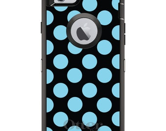 CUSTOM OtterBox Defender Case for Apple iPhone 6 6S 7 8 PLUS X 10 - Personalized Monogram - Black Blue Polka Dots