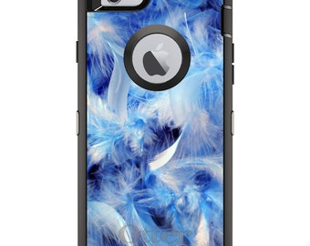 CUSTOM OtterBox Defender Case for Apple iPhone 6 6S 7 8 PLUS X 10 - Personalized Monogram - Blue Feathers