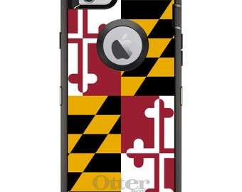 CUSTOM OtterBox Defender Case for Apple iPhone 6 6S 7 8 PLUS X 10 - Personalized Monogram - Maryland State Flag