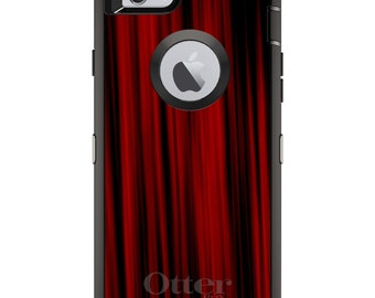 CUSTOM OtterBox Defender Case for Apple iPhone 6 6S 7 8 PLUS X 10 - Personalized Monogram - Bright Red Curtains