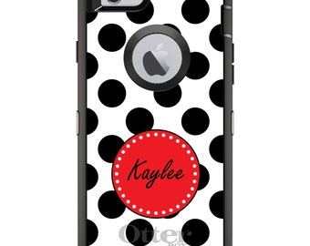 CUSTOM OtterBox Defender Case for Apple iPhone 6 6S 7 8 PLUS X 10 - Personalized Monogram - Black Rose White Polka Dots