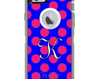 CUSTOM OtterBox Defender Case for Apple iPhone 6 6S 7 8 PLUS X 10 - Personalized Monogram - Pink Blue Polka Dots Initial